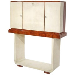 Antique French Art Deco Bar Cabinet with Rosewood and Parchment