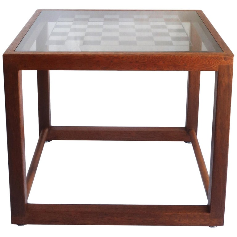Walnut and Glass Game Table