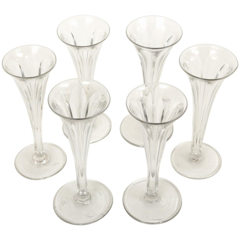 Set Of Four Colored Champagne Glasses Flutes For Sale At 1stdibs