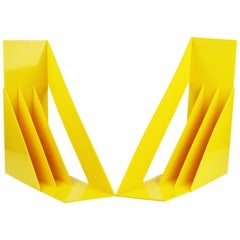 Pair of Yellow Record/Magazine Racks by Giotto Stoppino for Heller