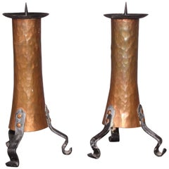 Pair of Candlesticks in the Serrurier Bovy Style
