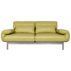 Rolf Benz Plura Designer Sofa Leather Green Relax Function Couch Modern