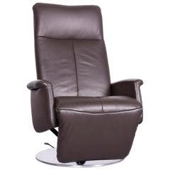Willi Schillig Timeout Designer Leather Armchair in Brown One-Seat Recliner