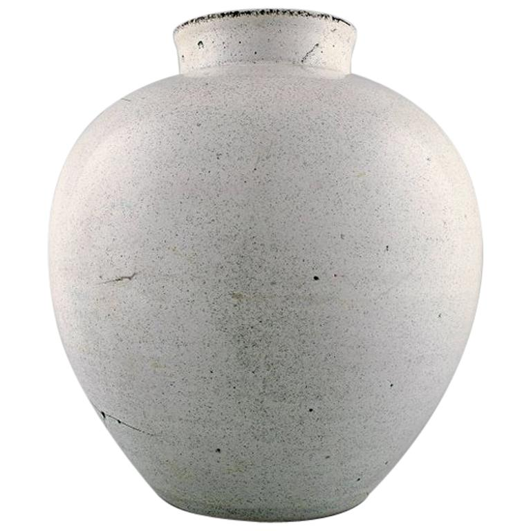 1930s Svend Hammershi Large Unglazed Earthenware Vase By Khler