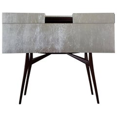 Italian Bernini Wood Sideboard in Dark American Walnut Covered with Silver Leaf