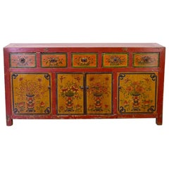 Early 19th Century Mongolian Fine Painted Sideboard Five Drawers Four Doors
