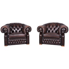 Chesterfield Centurion Leather Armchair Set Brown One-Seat