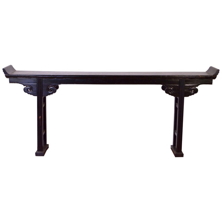 19th Century Fine Chinese Black Laquered Console