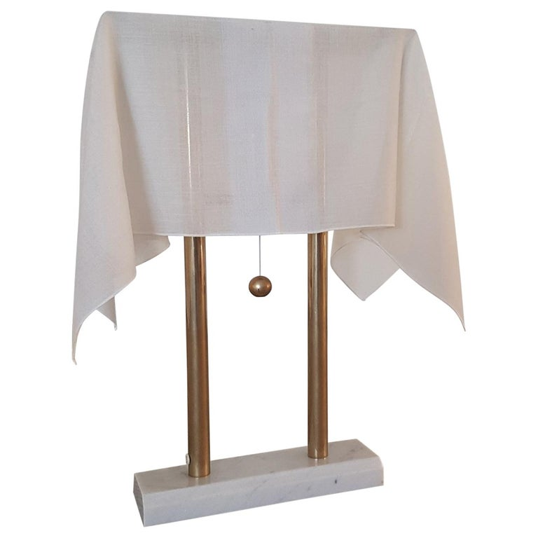 K. Takahama Table Lamp in Carrara Mable and Metal with White Fabric Lampshade