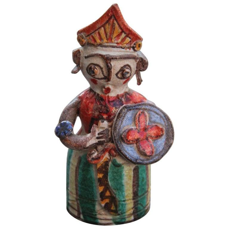 De Simone Ceramic Italian Art Sculpture Sicilian Warrior Multi-Color Midcentury