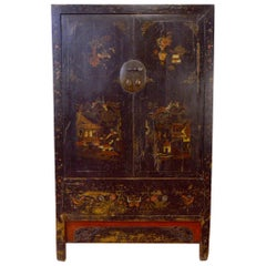 Late 18th Century Hand-Painted Cabinet Elm Wood