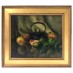 Black Teapot and Pomegranates Still Life Oil Painting