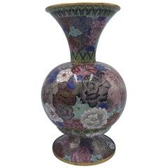 1960s Cloisonné Pink Polychrome Vase
