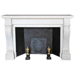 "Antique Empire II Fireplace, ""Lion's Paws"" in Carrara Marble"