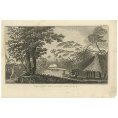 Antique Print of a Cemetery on Amsterdam Island by Klauber, circa 1810