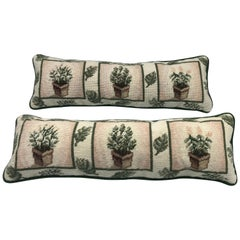 1980s Needlepoint Pillows with Topiary Motif, Pair