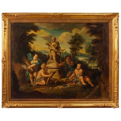 Italian Painting Oil on Canvas Game of Little Angels from 20th Century