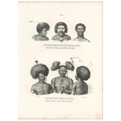 Antique Print of Natives from New Ireland and New Guinea by Honegger, 1836