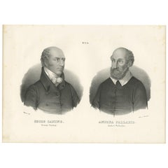 Antique Print of Georg Caning and Andrea Palladio by Honegger, 1836