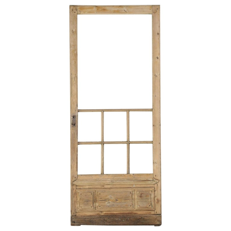 Single Antique French Door with Raised Panels For Sale