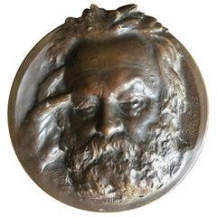 Bronze Plaque Portrait of Victor Hugo Marked Rozet 85