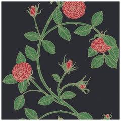 Elva Rose-Floral Print in Color Bella 'Black ground Red Floral' on Smooth Paper