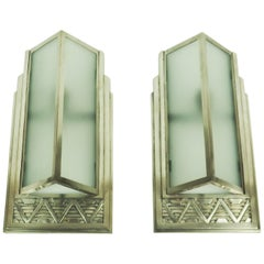 Pair of Art Deco Silvered Bronze Sconces by Georges -Marius Boretti