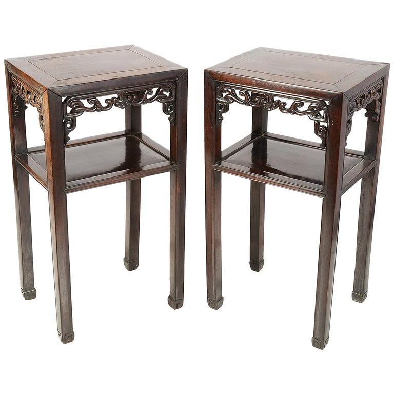 Pair of 19th Century Chinese Hardwood Side Tables