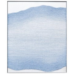 Contemporary Handwoven Wall Fiber Art, Pale Blue Live Edge Form by Mimi Jung
