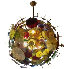 Multicolored Murano Glass Discs Chandelier 1980s
