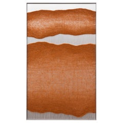 Contemporary Handwoven Wall Fiber Art, Rust Edge Forms by Mimi Jung