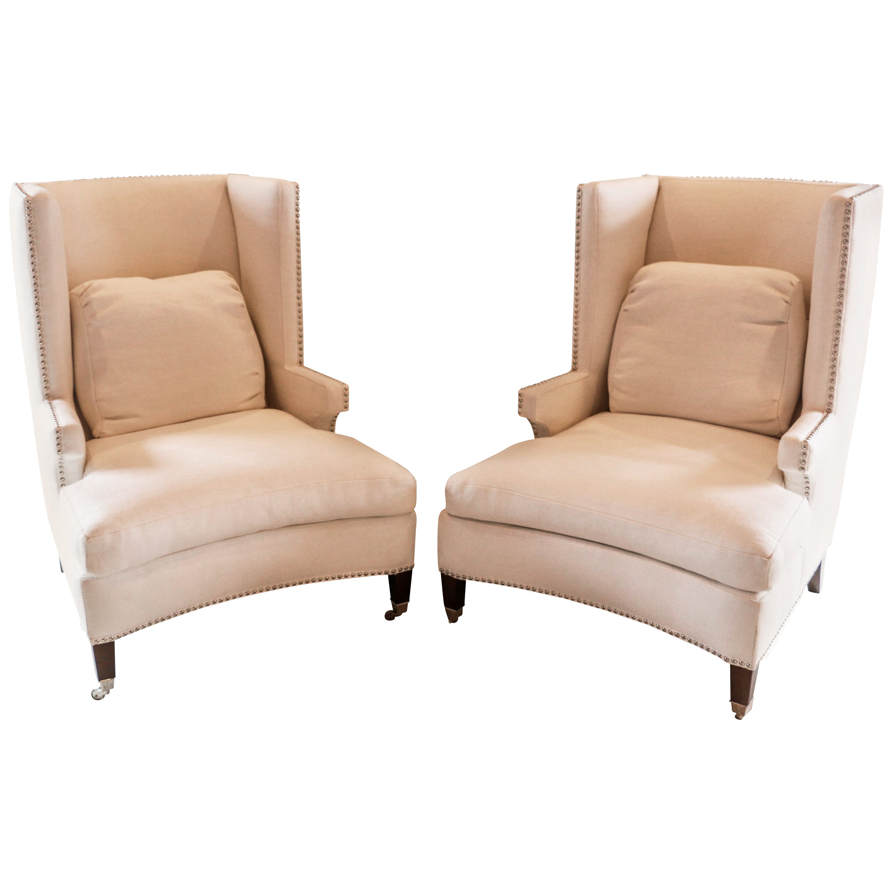 Pair of Fine Quality Custom Modern Wing Chair For Sale at 1stdibs