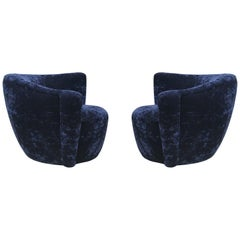 Mid-Century Modern Swivel Club Lounge Chairs by Vladimir Kagan in Blue Velvet