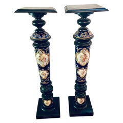 Pair of Royal Vienna Style Porcelain and Ebony Column Pedestals