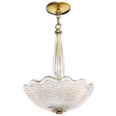 Small Swedish Orrefors Textured Glass Ceiling Fixture