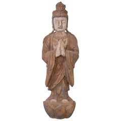 20th Century Hand-Carved Wood Buddha