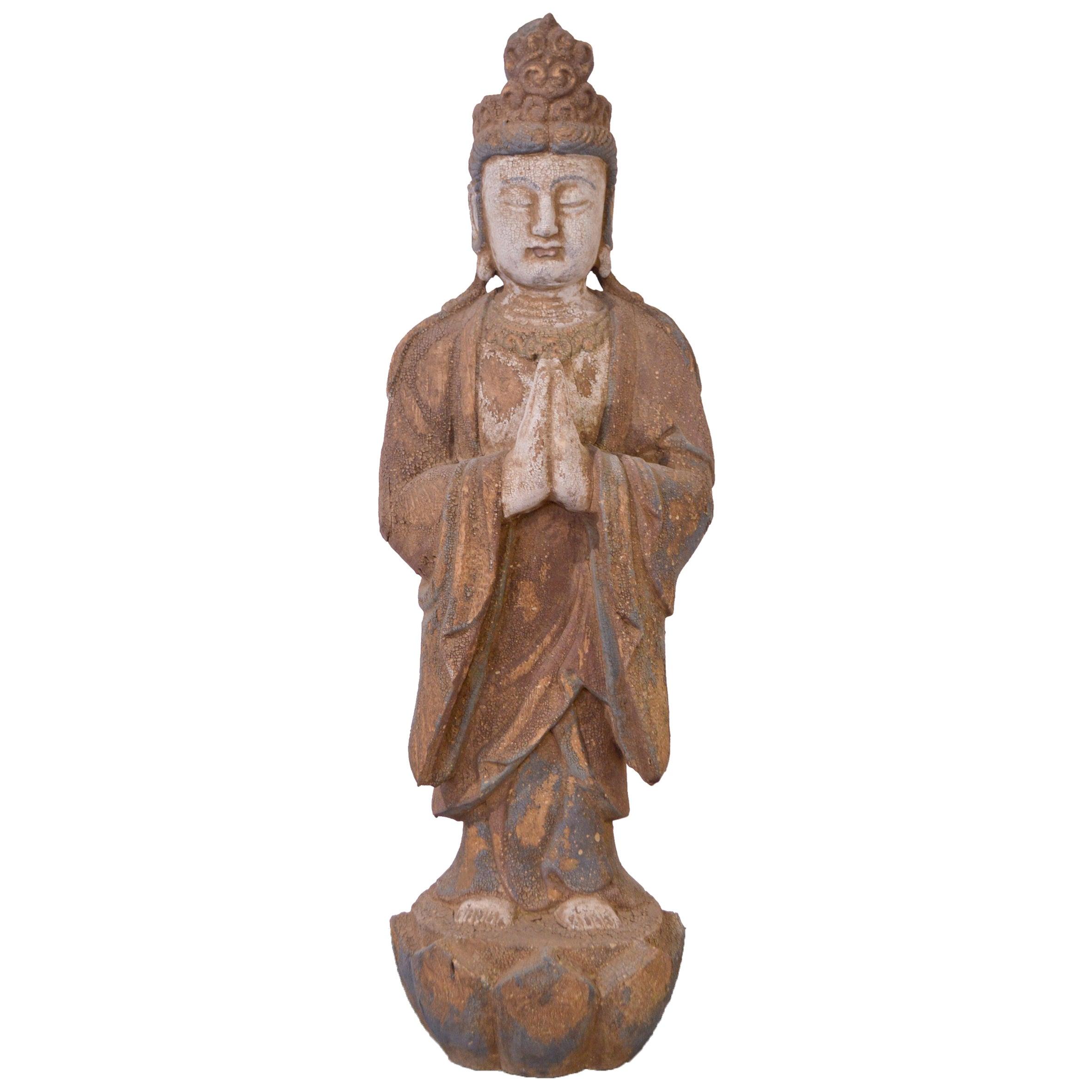 20th Century Hand-Carved Wood Buddha
