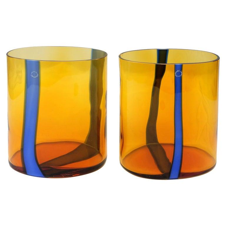 Amber and Blue Murano Glass Vase Set by V. Nason & C., Italy