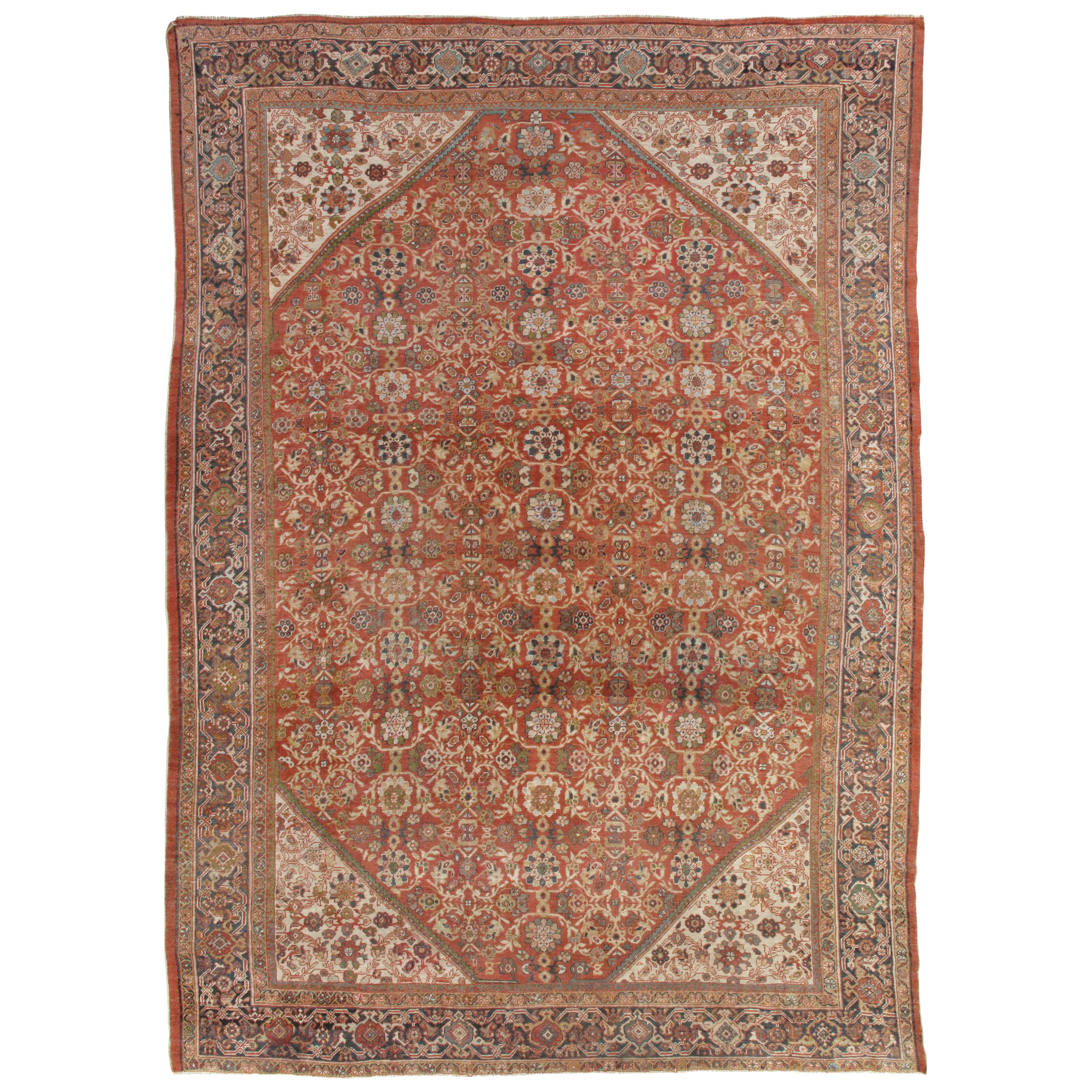 Hand Knotted Antique Persian Sultanabad Carpet, circa 1900