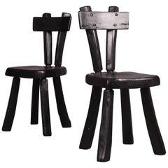 Zwei Alexandre Noll Style Schwarz Lackierte Stühle