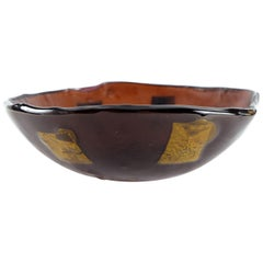 Italian Murano Glass Bowl with Gold Leaf Accents