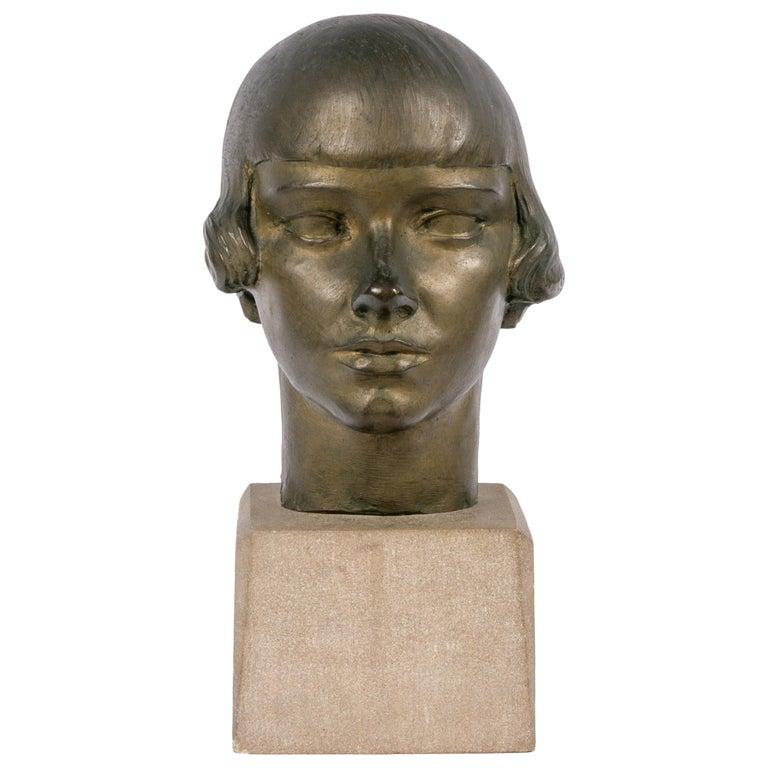 "Gertrude Vanderbilt Whitney Bronze Sculpture ""Young Woman"", USA, 1920s For Sale"