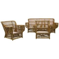 Classic 1930s American Art Deco Stick Wicker Sofa and Chairs