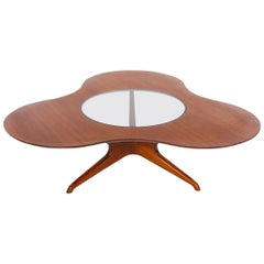 Midcentury Italian Modern Cocktail Table in Walnut and Glass by Mario Dal Fabbro