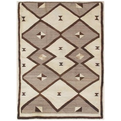 Vintage Navajo Carpet, Folk Rug, Handmade Wool, Beige, Gray, Neutral