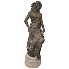 Art-Nouveau Patinated Terracotta in Grey Spanish Female Sculpture, Signed