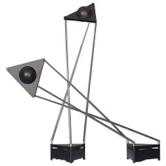 Sculptural Table Lamps, F.A. Porsche Black Plastic Chrome Metal Lucitalia, Pair