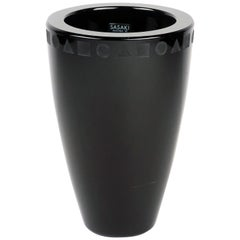 Post-Modern Black Crystal Vase by Ward Bennett for Sasaki