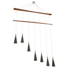 Midcentury Teak and Metal Seven Pendant Lighting Fixture, Denmark, 1960s