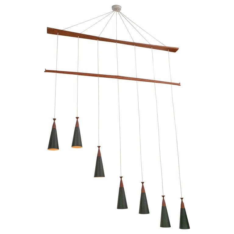 Midcentury Teak and Metal Seven Pendant Lighting Fixture, Denmark, 1960s For Sale